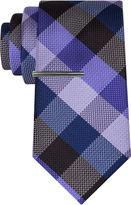 Jf J.Ferrar JF Navy Ground Gingham Tie With Tie Bar