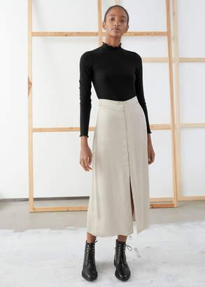 And other stories Iridescent Button Satin Midi Skirt