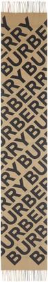 Burberry Giant Text/Check Cashmere Scarf