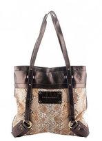 Burberry London Canvas Snakeskin Print Leather Tote Handbag