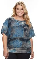 Plus Size AB Studio Tie-Dye Embellished Banded-Bottom Top