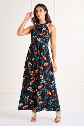Yumi Poppy Print High Neck Maxi Dress