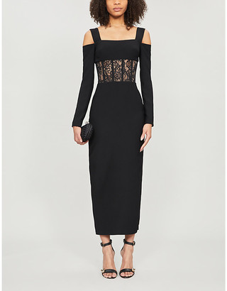 Rasario Cold-shoulder floral-lace embroidered crepe midi dress