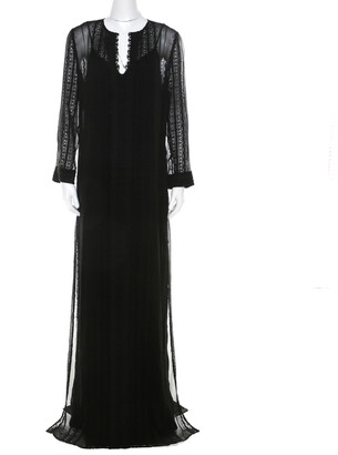Elizabeth and James Black Embroidered Silk Georgette Mia Maxi Dress L