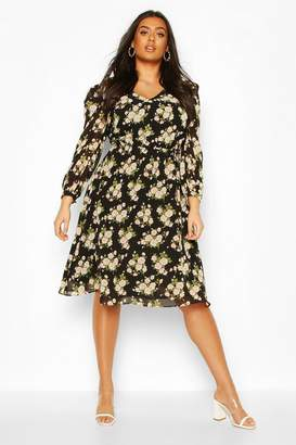 boohoo Plus Floral Ruffle Puff Sleeve V-Neck Midi Dress