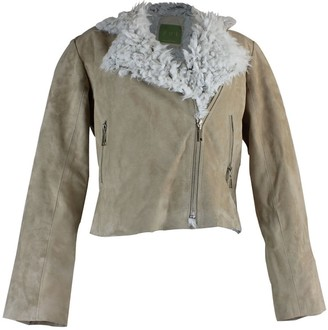 Zut London Ladies Leather Suede Pilot Jacket With Man-made Fur Lining- Beige