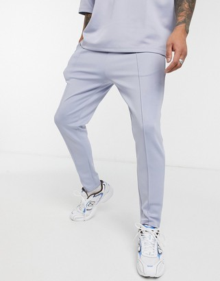 ASOS DESIGN smart co-ord skinny joggers in light blue scuba with fixed hem & pintucks