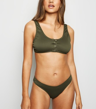 New Look Ribbed Popper Crop Bikini Top