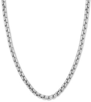 """Effy Rounded Box Link 24"""" Chain Necklace in Sterling Silver"""