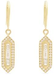 Azlee Triple Baguette Diamond And Gold Drop Earrings - Gold