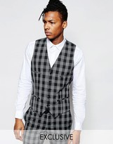 Noak Monochrome Check Waistcoat In Super Skinny Fit