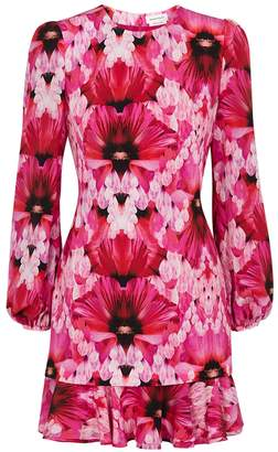 Alexander McQueen Pink floral-print silk mini dress