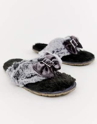 Bedroom Athletics Jacqui faux fur toe post slipper in charcoal-Grey