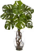 Nearly Natural 26In Monstera Plant In Rocks With Glass Vase