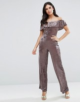 Love Velvet Off Shoulder Frill Jumpsuit