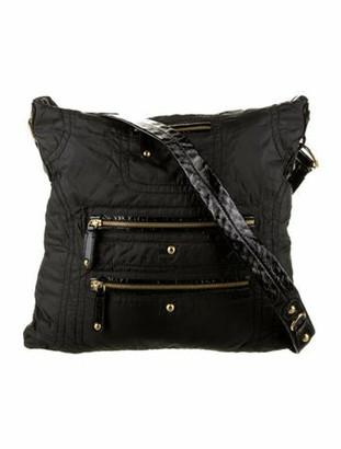 Tod's Patent Leather-Trimmed Nylon Shoulder Bag Black