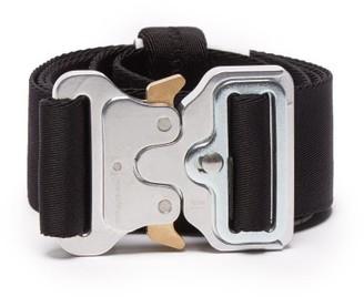 Alyx Rollercoaster-buckle Logo-woven Belt - Black Silver