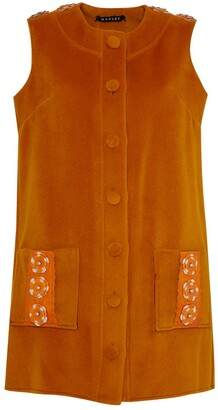 Manley Tabby Leather Embellished Cashmere Coat Dress Orange