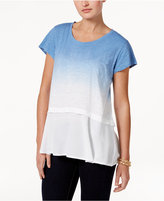 Style&Co. Style & Co Cotton Dip-Dyed Flounce-Hem Top, Only at Macy's