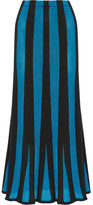ADAM by Adam Lippes Fluted Paneled Terry And Open-knit Maxi Skirt - Turquoise