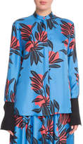 Roksanda Floral-Print Button-Front Silk Blouse