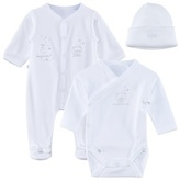 Absorba White Babygrow, Hat and Body Gift Set