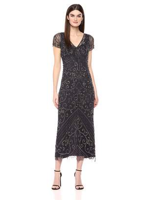 Pisarro Nights Women's Long Dress with v-Neck and a Placement Beaded Motif