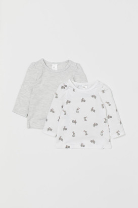 H&M 2-pack Puff-sleeved Tops - Gray