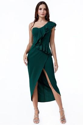 Linzi Goddiva One Shoulder Frill Maxi Dress