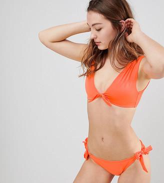 New Look Tie Front Wide Strap Bikini Top-Orange