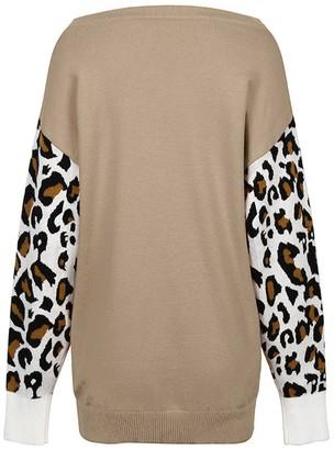 Goodnight Macaroon 'Michaela' Leopard Sleeve Sweater (4 Colors)