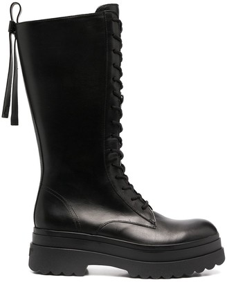 RED Valentino Lace-Up Mid-Calf Boots