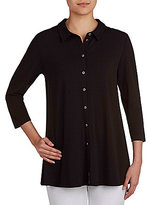 Peter Nygard Point Collar 3/4 Sleeve Button Front Solid Tunic