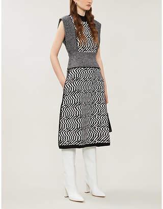 Stella McCartney Sleeveless abstract-pattern wool midi dress