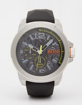 Boss Orange New York Textured Dial Watch With Silicone Strap