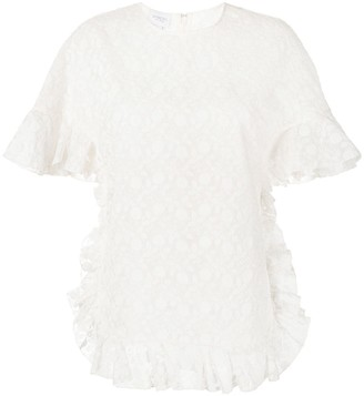 Giambattista Valli Floral Embroidered Silk Blouse