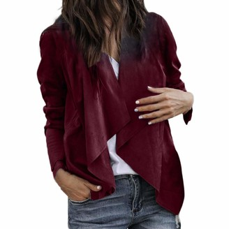 Weant Women Coats Womens Cardigans Long Sleeve Autumn Winter Faux Leather Lightweight Waterfall Open Front Jacket Tops Blazer Coat for Ladies Teen Girls Fashion Knitwear Outerwear Jumpers Pullover Blouse Clearance