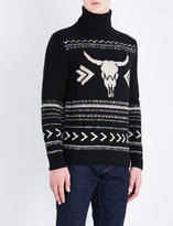 Ralph Lauren Purple Label Bull skull-motif cashmere and wool-blend jumper