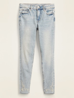 Old Navy High-Waisted Floral-Embroidered Rockstar Super Skinny Cut-Off Ankle Jeans for Women