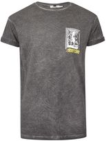 Topman Washed Black Crackle Muscle Fit Roller T-Shirt