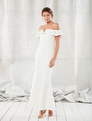 Forever New Lulu Ruffle Off-Shoulder Gown - Porcelain - 4