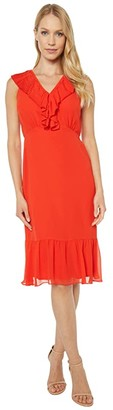 Sam Edelman Mini Pleat Neckline Dress (Coral) Women's Dress