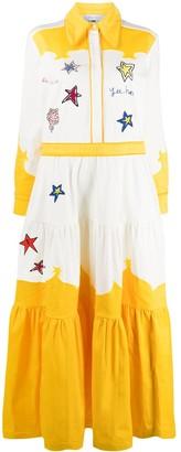 Mira Mikati Embroidered Patch Shirt Maxi Dress