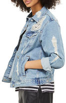 Topshop PETITE Extreme Ripped Denim Jacket