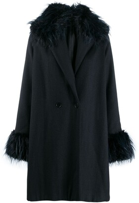 Romeo Gigli Pre Owned 1990's Fur Trimming Knee-Length Coat