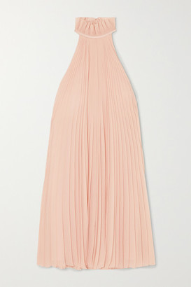 Givenchy Satin-paneled Ruffled Pleated Silk-georgette Halterneck Mini Dress - Pink