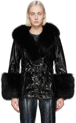 Saks Potts Black Patent Fur Shorty Coat