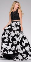 Jovani Floral Embellished Two Piece Illusion Prom Dress