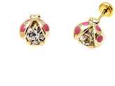 Sweet & Soft Clear Crystal & Gold Ladybug Stud Earrings