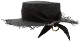 Federica Moretti Frayed-edge panama woven-paper hat